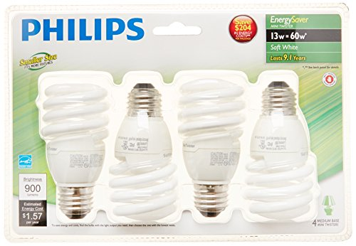 Philips 417071 Energy Saver Compact Fluorescent 13-Watt T2 Soft White Twister Household Light Bulb, 4-pack