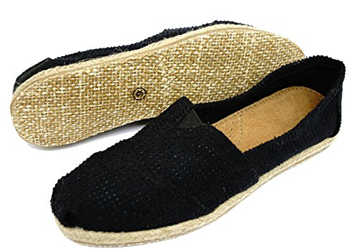 Ladies Flat Black Slip-On Holiday Comfy Espadrille Pumps Casual Shoes Sizes 3-8 K4J9x33IF