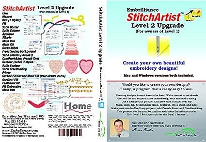 Amazon Com Embrilliance Stitchartist Upgrade Level 1 To Level 2 Digitizing Embroidery Software For Mac Pc