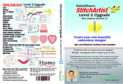 Embrilliance StitchArtist Upgrade Level 1 to Level 2 Digitizing Embroidery Software for Mac & PC