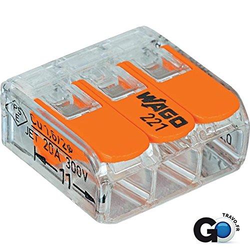 Wago 221-413 LEVER-NUTS 3 Conductor Compact Connectors 100 PK (Terminal Block Wago)