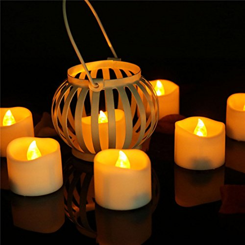 eless Candle Tealights Battery Operated Long Burning, Amber Yellow Led Flickering Tea Lights Candles for Table Wedding Birthday Party Holiday Decorations ()