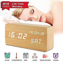 Digital Alarm Clock, Desk Clock Wood Digital Clocks with 3 Alarms 3 Brightness Voice Control LED Display Temperature Humidity, Mini Travel Clock Wooden Clock for Home Bedrooms Office Desk Shelf Kids