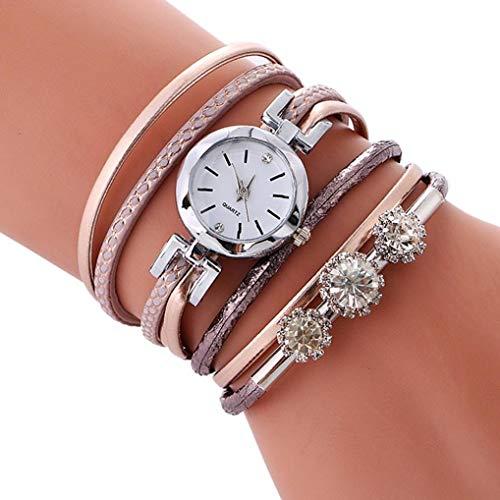 Price comparison product image ManxiVoo Women Wrap Bracelet Quartz Braided Winding Wrap Wristwatch Rhinestone Casual Multilayer Bracelet Watch (Rose Gold)