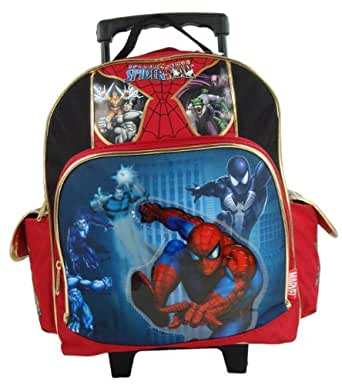 """Amazon.com   Spiderman 12"""" Toddler Rolling Backpack"""