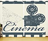 HGOD DESIGNS Movie Decor Window Curtains for Bedroom,Abstract Cinema Projector Silhouette Art Design Image,Living Room Window Curtain 2 Panels Set,108Wx63L,Blue Beige