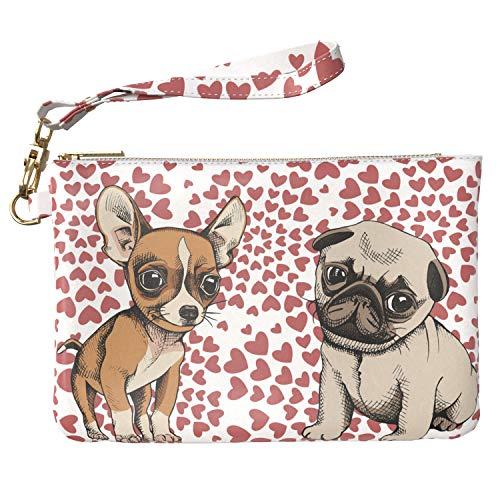 (Lex Altern Makeup Bag 9.5 x 6 inch Dog Cute Pattern Animal Puppy Pug Love Art PU Leather Case Toiletry Women Zipper Organizer Bathroom Storage Wristband Girl Design Print Purse Pouch Cosmetic Travel)