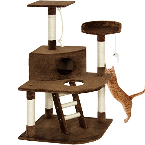Eight24hours Pet Play House 47'' Cat Tree Scratcher Condo Furniture - Brown + FREE E-Book by Eight24hours