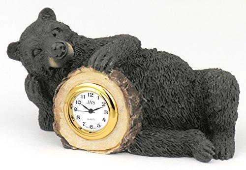 Clock Bear Desk (Black Bear Table Clock)