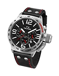 TW Steel Men's CS10 Stainless Steel Watch With Black Leather Band