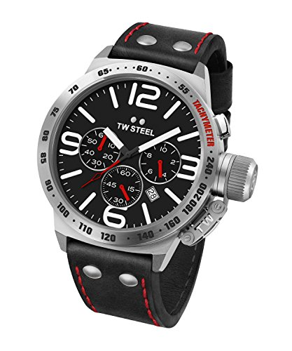 (TW Steel Men's CS10 Stainless Steel Watch With Black Leather Band)