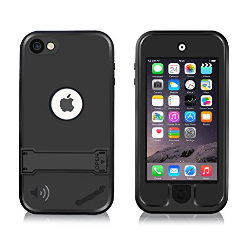 iPod Touch 5 Waterproof Case, Waterproof iPod Touch 6 Case, Eonfine Shockproof Protective Full-sealed Hard Cover, Underwater IP68 Certificated Kickstand Case for iPod Touch 5/6 Black