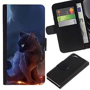 """[Neutron-Star] Modelo colorido cuero de la carpeta del tirón del caso cubierta piel Holster Funda protecció Para Apple (4.7 inches!!!) iPhone 6 / 6S [Bruja Bruja del gato Humo Arte Negro Fuego""""]"""