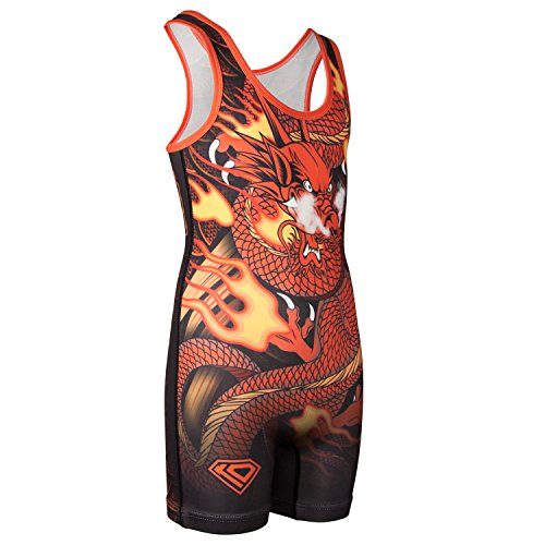 Wrestling Design - KO Sports Gear Wrestling Singlet by Red & Gold Dragon Design (Adult XL: 160-195 lbs)