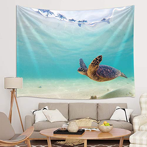 (JAWO Turtle Tapestry Wall Hanging, Sea Animal Hawaiian Ocean Underwater Scuba Diving Nature Tapestries for Dorm Living Room Bedroom, Wall Blanket Beach Towels Home Decor 71X60 Inches, Blue)
