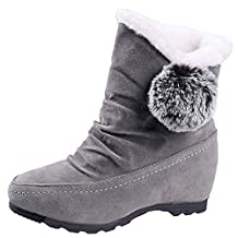 Theshy Autumn Winter Warm Women Suede Hairball Round Toe Wedges Shoes Keep Warm Slip-On Snow Boots