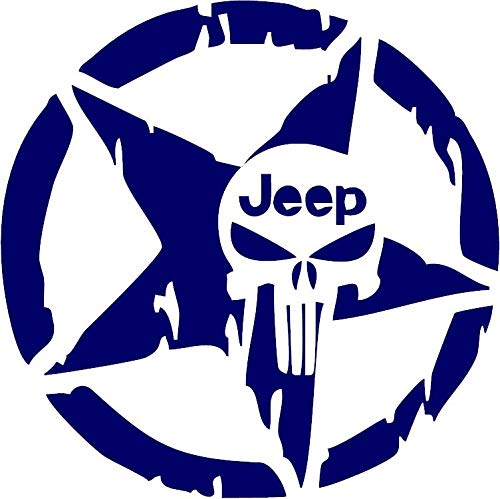 All About Families Punisher Jeep Military Star ~ Brilliant Blue ~ Window Sticker/CAR/Truck/RV/Boat with Alcohol PAD~ Size 5