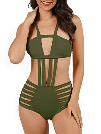 c227f7043ed Nulibenna Women's Bandage Halter One Piece Bikini Cut Out Bathing Suit Army  Green Small