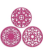 ME.FAN 3 Set Silicone Multi-Use Intricately Carved Trivet Mat - Insulated Flexible Durable Non Slip Coasters