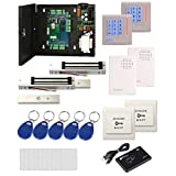 2 Doors Security Network RFID Access Control Board Kit Metal AC110V Power Box+USB RFID Reader+600LBS Magnetic Lock+Wired Doorbell+Exit Button RFID Keypad Reader/Keychains/Cards