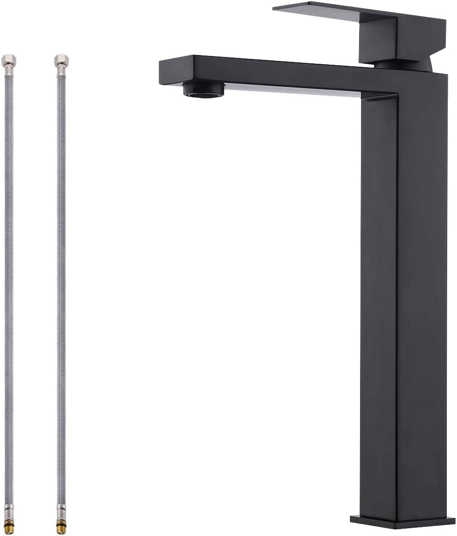 KES Vessel Sink Faucet Single Handle Modern Bathroom Faucet cUPC NSF Certified SUS 304 Stainless Steel Lead Free Matte Black Finish, L3156BLF-BK