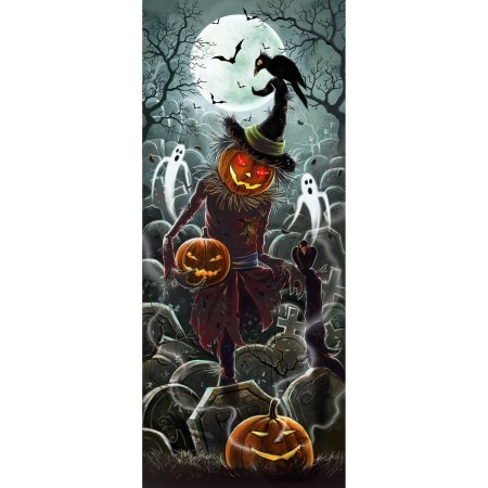 Lights and Sounds Halloween Door Panel, Scarecrow Halloween Decoration