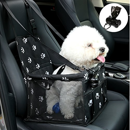 No Collapse Dog Car Booster Seats Safety Seat Car Seat Cover Dog Seat Belt Non Slip Carrier,Waterproof, Breathable, Portable, Foldable Small Pets Animals Cat Puppy Footprint by PETGE