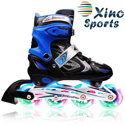 XinoSports Adjustable Inline Skates for Kids, Featuring Illuminating Front Wheels, Awesome-Looking, Comfortable, Safe and Durable Rollerblades, for Boys and Girls, 60-Day - Skate Blade