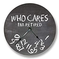 Fancy This WHO Cares Im Retired Wall Clock - Chalkboard Pattern - Teacher Classroom