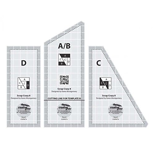 Creative Grids Scrap Crazy for 8 Finished Blocks - Set of Three Quilting Ruler Templates CGRMT4
