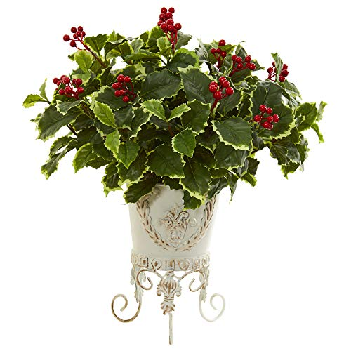 (Nearly Natural 8530 Variegated Holly Artificial Metal Planter (Real Touch) Silk Plants Green)