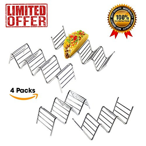 Taco Holder - Premium Quality Stainless Steel Taco Holder Stand - Taco Rack - Taco Tray Holds Up To 14 Soft or Hard Taco Shells - Dishwasher, Oven Safe For Baking or Reheating - Set of 4 (Platter Casserole Dish Cover)