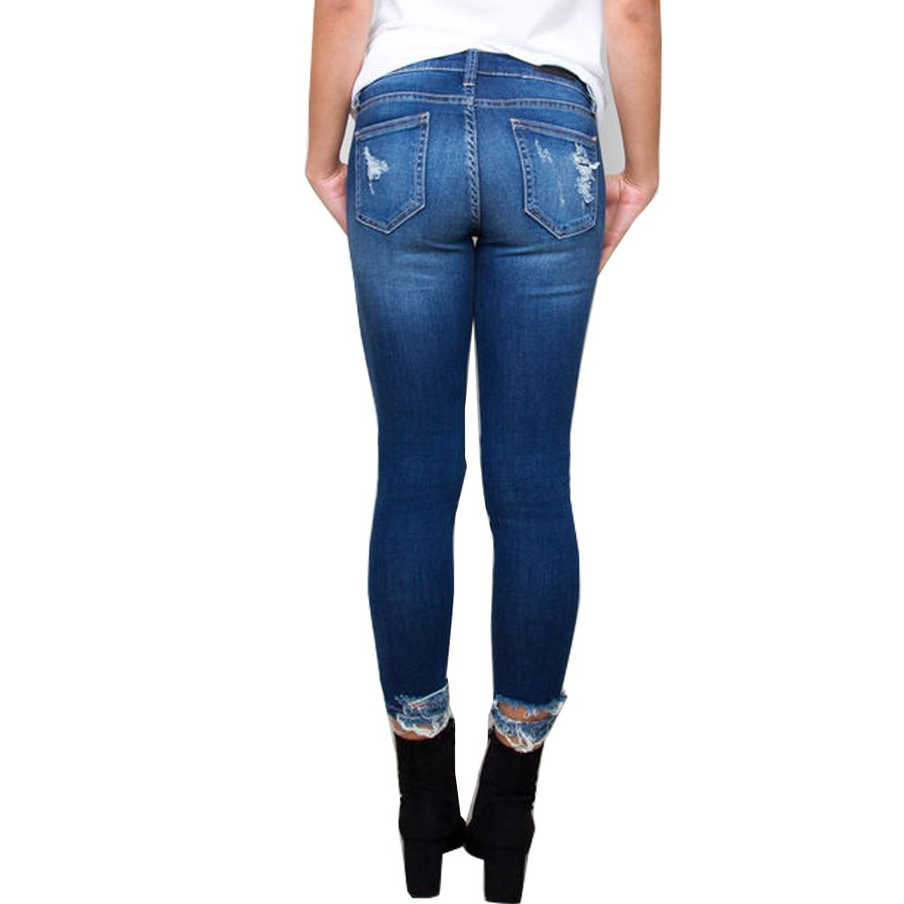 Amazon.com: liyt Mujer Sexy Slim Fit rasgar rodilla Ripped ...