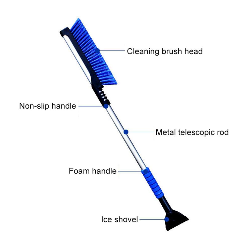 Extendable 2 in 1 Car Snow Scraper and Brush with Foam Grip,Car Shovel with Scratch-Free Snow Brush for Auto Window Windshield