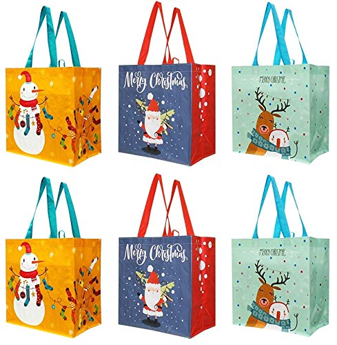Earthwise Reusable Grocery Bags Holiday Shopping Gift Tote Sets Extremely Durable Foldable and Stylish Assorted Variety of Christmas Xmas Designs (Pack of 6) (Bags Christmas Reusable Shopping)