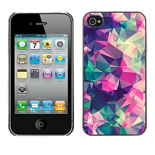( Abstract Floral Spring Polygon Art ) APPLE iPhone 4 / 4S Hard Printing Protective Cover Protector Sleeve Shell Case Cover