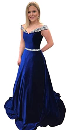 Dressylady Royal Blue Off-Shoulder A Line Beading Velvet Long Evening Prom Dress 2
