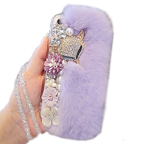 Aikeduo For Iphone 7Plus case Handmade Bling fox rope crystal pendant Crystal Rabbit Fur Rhinestone 7plus Cover Warm Case (Lilac)