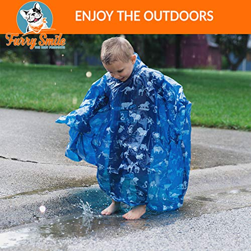 Disposable Rain Ponchos for Kids: Emergency Rain Poncho – 4 Pack of Youth Size Hooded Ponchos for Boys and Girls…
