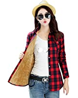 AvaCostume Womens Casual Fleece Winter Plaid Slim Shirt Blouse, 8898-29 L