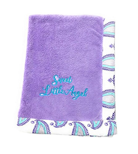 Bacati Isabella Girls Paisley Embroidered Plush Blanket, Lilac/Purple/Aqua