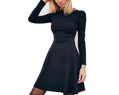 Women Long Sleeve Bodycon O Neck Casual Dress Winter Vintage Sexy