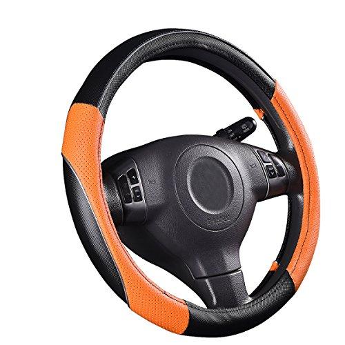 (CAR PASS PVC Leather Rainbow Universal Fit Steering Wheel Cover - Orange)