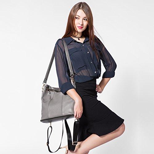 college véritable casual Sacs Elégant Cartable Gris cuir dos marron à en femmes sac Mode femme à main grande XrO4qX