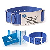 NATO Medical ID Bracelet. Includes up to 18 Lines of Custom Engraving. Choose Your Color! (Royal Blue)