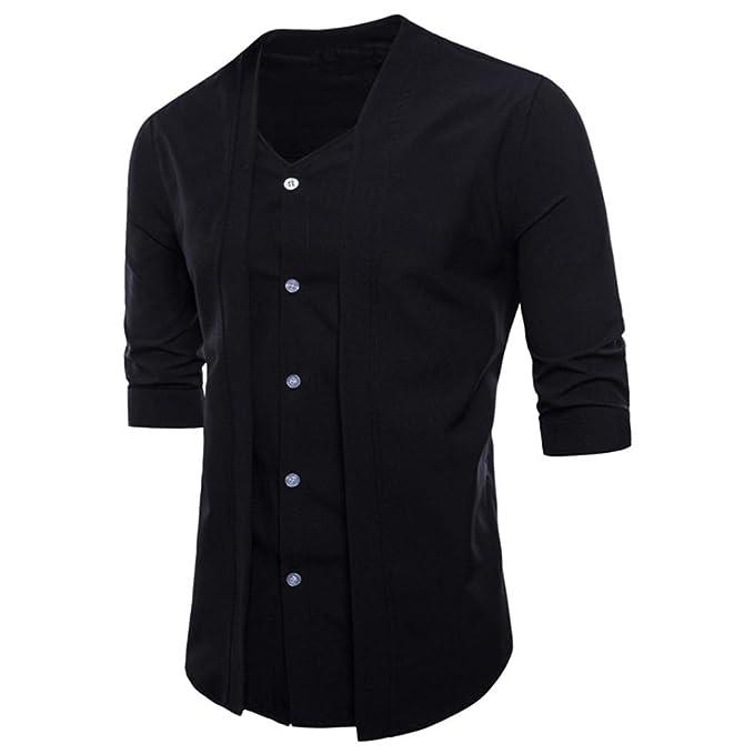 Camisas Casual Hombre Manga Larga, Covermason Trajes Formales Casuales del Ajuste Delgado