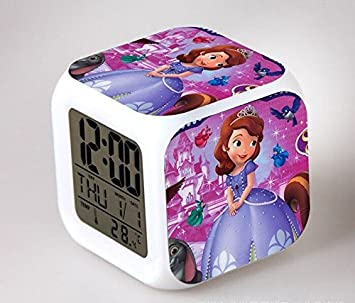 Amazon.com : Cartoon Princess Sophia Digital Action Figure Sofia Alarm Clock Reloj Despertador LED Horloge Kids Night Glowing Clock Model Toy : Baby