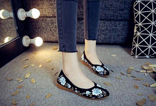 im Frauen Kleid on Schuhe Loafer Schwarz Stil Casual Stickerei chinesischen Slip Cheongsam Lazutom Party SR5wBxqdq