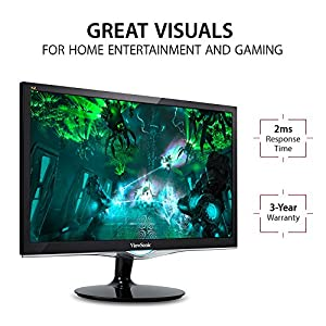 "ViewSonic VX2452MH 24"" 2ms 1080p Gaming Monitor HDMI, DVI, VGA"