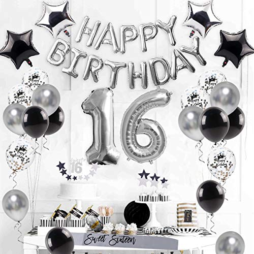 16th Birthday Decorations Supplies Silver - Sweet Silver 16 Birthday Party, Number 16 Balloon, Happy Birthday Banner, Cake Topper, Latex/Confetti Balloon, Star Balloon, Sash for BOY/Girl 16 Years Old (Sweet 16 Party Supplies Boy)